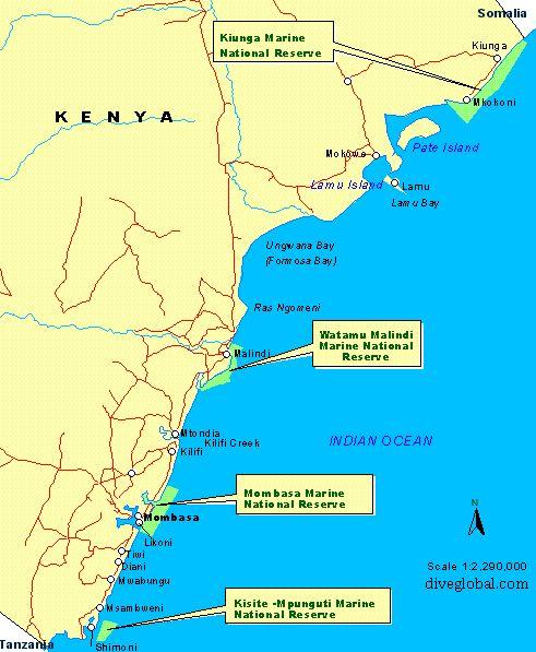 Kenya Dive Site Map