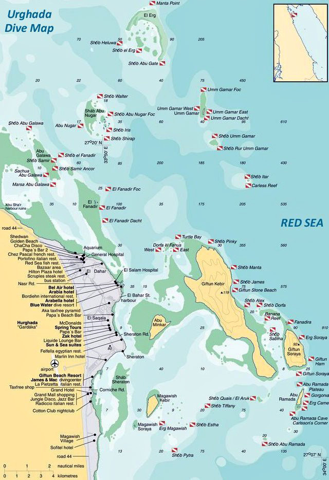Dive Map of Hurghada, Red Sea