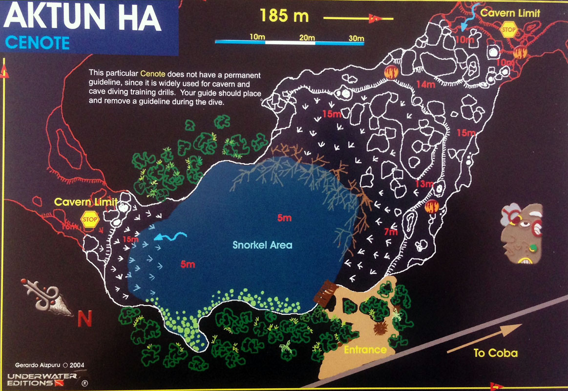 Cenote Carwash, Cozumel, Yucatan,  dive map