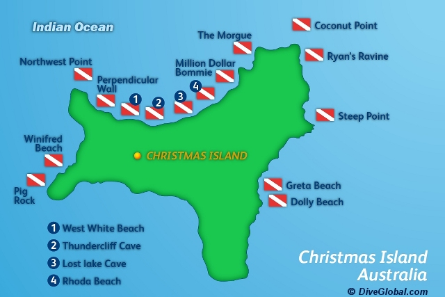 Christmas Island Dive Map