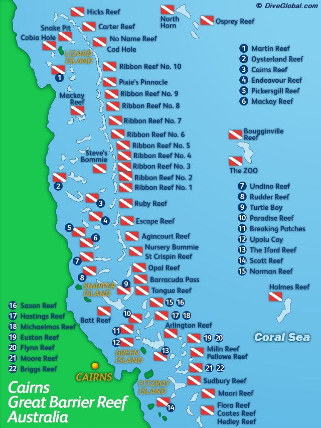Great Barrier Reef Dive Map