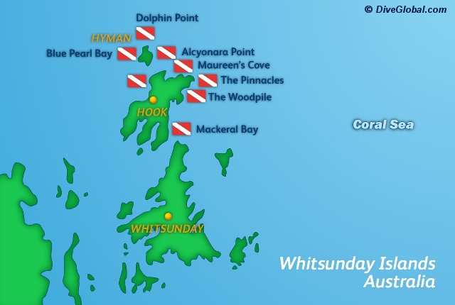 Whitsunday Islands Dive Map