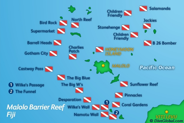 Malolo Barrier Reef, Mamanuca and Yasawa Fiji Dive Map