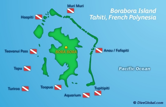 Bora Bora Dive Map