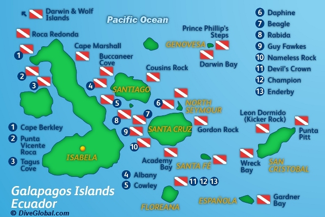 Galapagos Dive Map