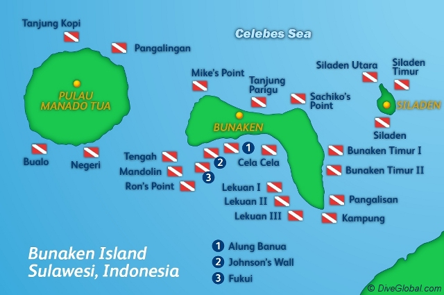 Bunaken Dive Map