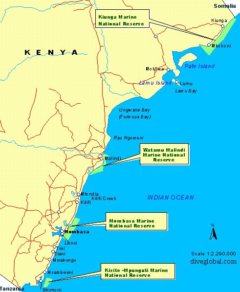 Kenya Dive Site Map