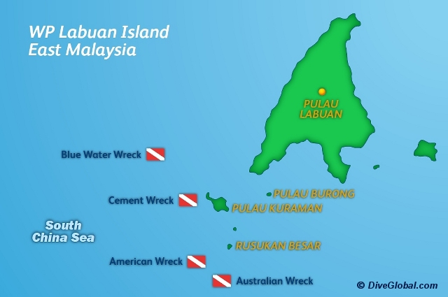 Labuan Dive Map