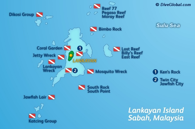 Lankayan Dive Map
