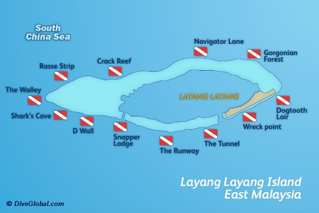 Layang Layang Dive Map