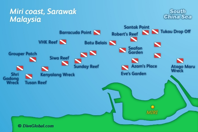 Miri Dive Map