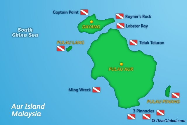 Pulau Aur Dive Map