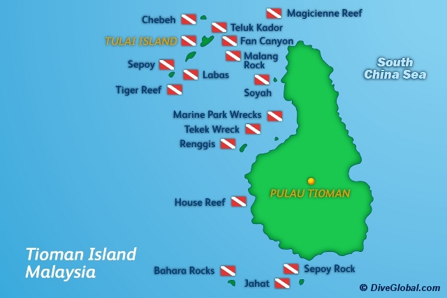 Tioman Dive Map