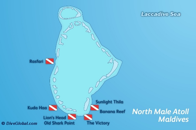North Male Atoll Dive Map