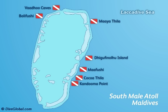 South Male Atoll Dive Map
