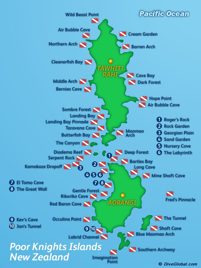 Poor Knights Islands Dive Map