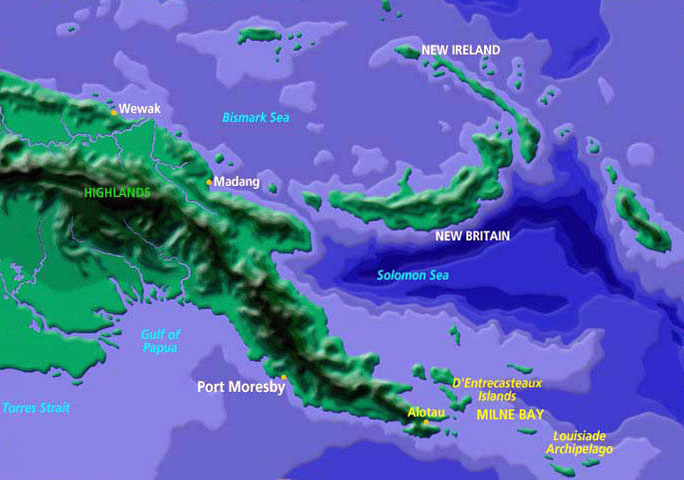 Map of PNG and Milne bay