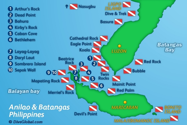 Anilao Batangas Dive Map
