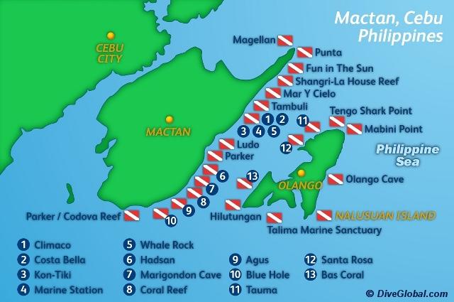 Dive Map Of Mactan Island