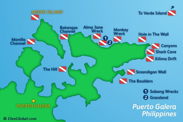 Puerto Galera Dive Map