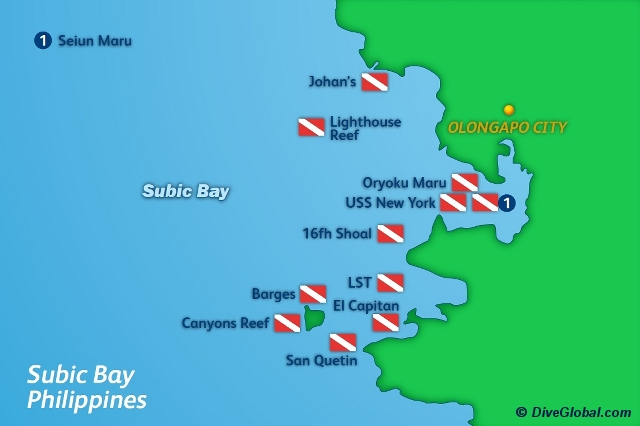Subic Bay Dive Map