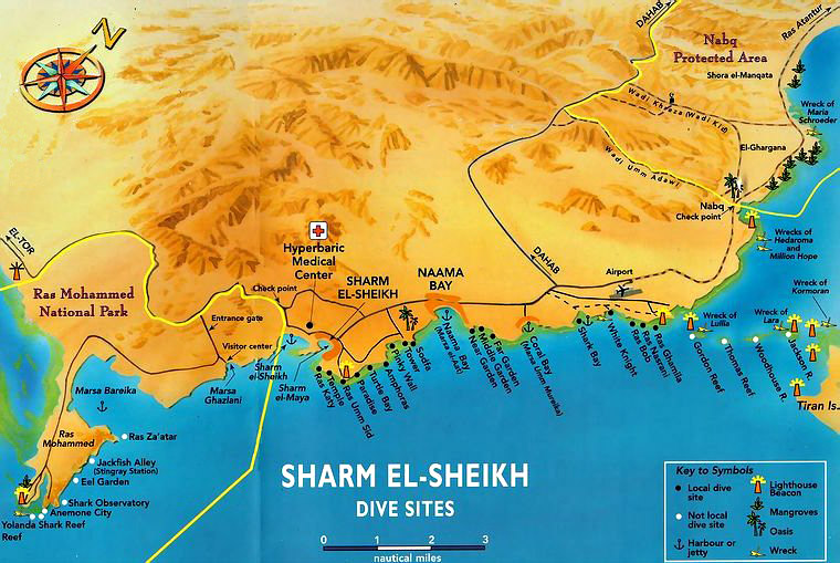Dive Sites Map of Sharm el-Sheikh