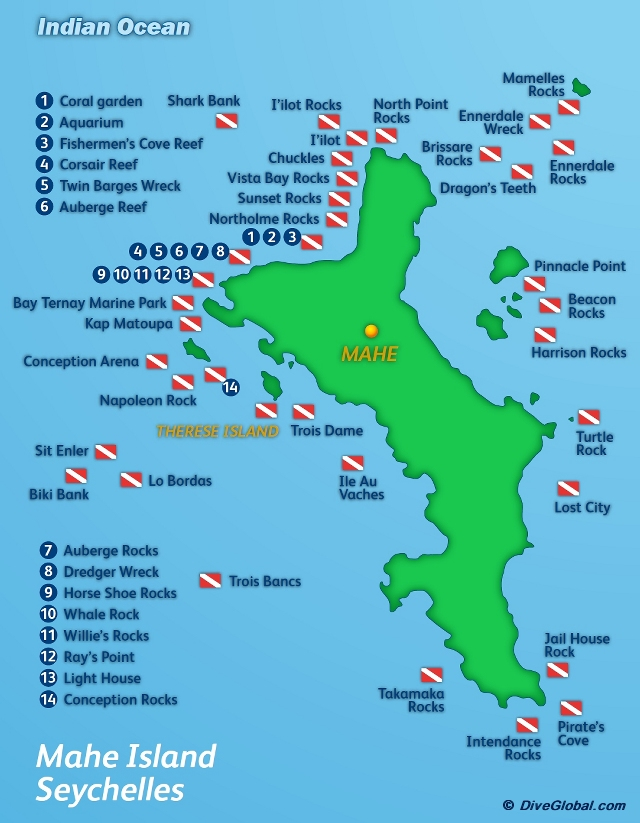 Mahe Island Dive Map