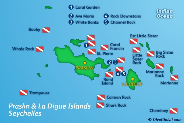 Praslin La Digue Dive Map
