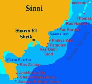 Sharm el Sheikh and Ras Nusrani Dive Site Map