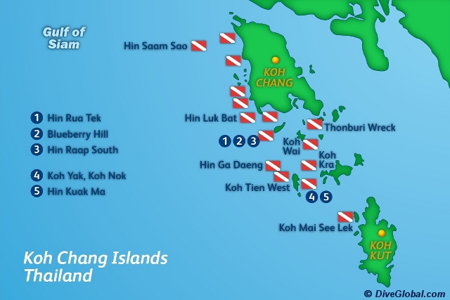 Koh Chang Dive Map