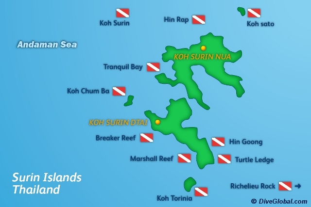 Surin Islands Dive Map